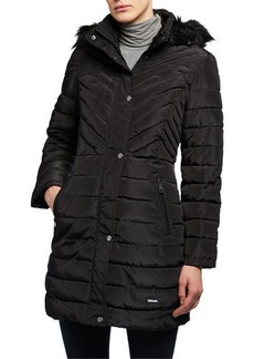Kenneth Cole Faux-Fur-Trim Memory Satin Puffer Coat