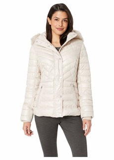 Kenneth Cole Faux Fur Trimmed Short Puffer