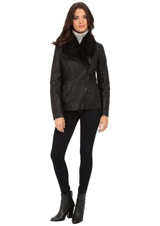 Kenneth Cole Faux Leather Jacket with Faux Fur Collar