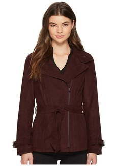 Kenneth Cole Faux Suede Moto Trench