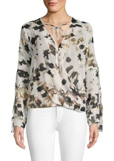 Kenneth Cole Floral Long-Sleeve Wrap Top