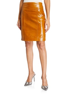 Kenneth Cole Goat Leather Moto Skirt