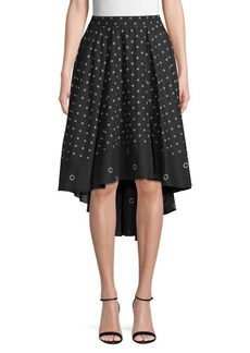 Kenneth Cole Grommet-Print High-Low Cotton Skirt