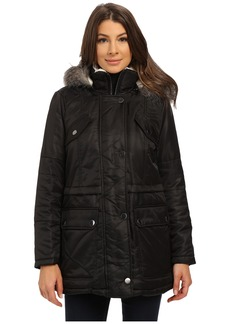 Kenneth Cole Hooded Parka with Faux Fur Trim & Sherpa Lining