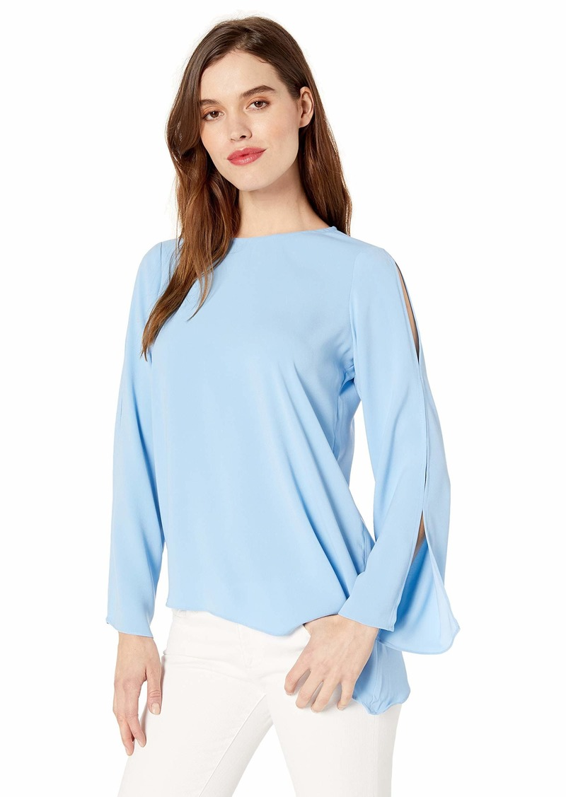 Kenneth Cole Women's Bell Sleeve Asymmetric Blouse