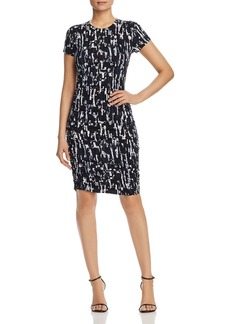Kenneth Cole Abstract-Print Ruched Knit Dress