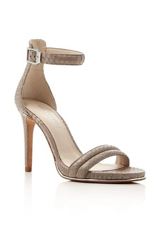 Kenneth Cole Brooke Snake-Embossed Ankle Strap High Heel Sandals