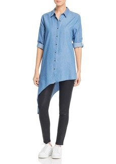 Kenneth Cole Chambray Asymmetric Button Down Top