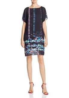 Kenneth Cole Chiffon-Overlay Printed Dress