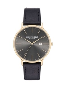 Kenneth Cole Classic Black Leather Strap Watch