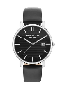 Kenneth Cole Classic Stainless Steel & Leather Strap Watch