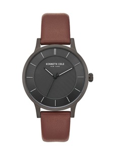 Kenneth Cole Classic Stainless Steel & Leather-Strap Watch