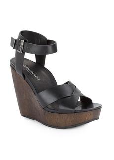 Kenneth Cole Clove Leather & Wood Platform Wedge Sandals
