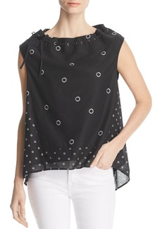 Kenneth Cole Cotton Poplin Grommet-Print Top