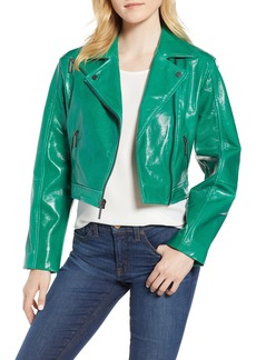 Kenneth Cole Crop Patent Leather Moto Jacket