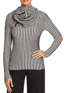 Kenneth Cole Cutout Striped Rib-Knit Sweater