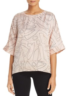 Kenneth Cole Dashed Shape Print Boxy Top