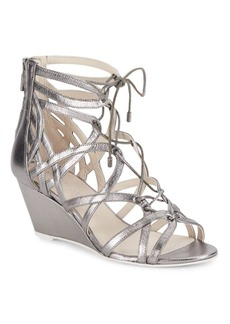 Kenneth Cole Dylan Metallic Leather Lace-Up Wedge Sandals