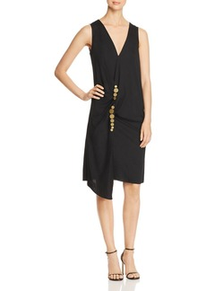 Kenneth Cole Embellished Twist Wrap Dress