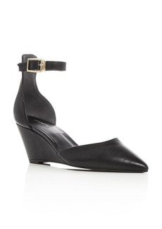 Kenneth Cole Emery Leather Pointed Toe Ankle Strap Wedge Pumps