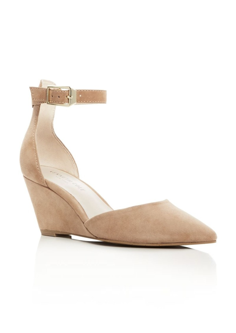 Kenneth Cole Emery Suede Pointed Toe Ankle Strap Wedge Pumps