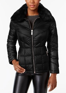 Kenneth Cole Faux-Fur-Collar Down Puffer Coat, Created for Macy's