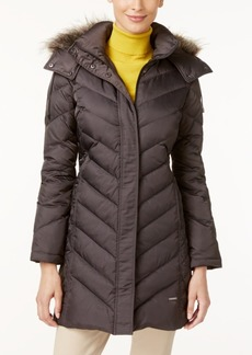 Kenneth Cole Faux-Fur-Trim Chevron Quilted Down Coat