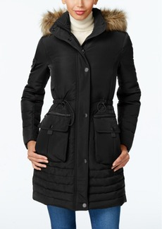 Kenneth Cole Faux-Fur-Trim Cinched Down Coat