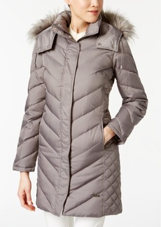 Kenneth Cole Faux-Fur-Trim Down Chevron Puffer Coat