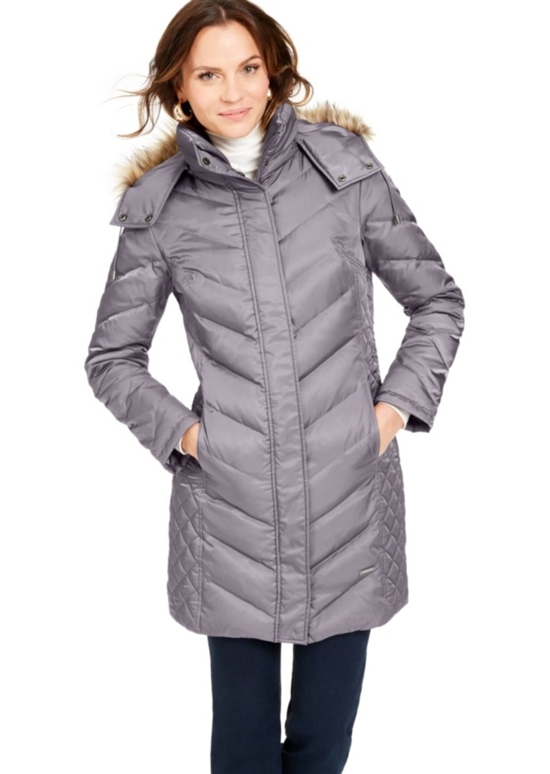 Kenneth Cole Petite Faux-Fur-Trim Down Hooded Puffer Coat