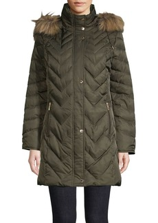 Kenneth Cole Faux Fur-Trimmed Quilted Parka