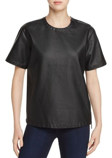 Kenneth Cole Faux Leather Moto Top