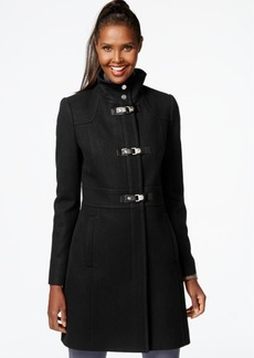 Kenneth Cole Faux-Leather-Trim Buckle-Front Walker Coat