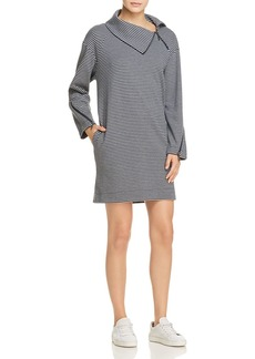 Kenneth Cole Funnel Neck Striped Dress