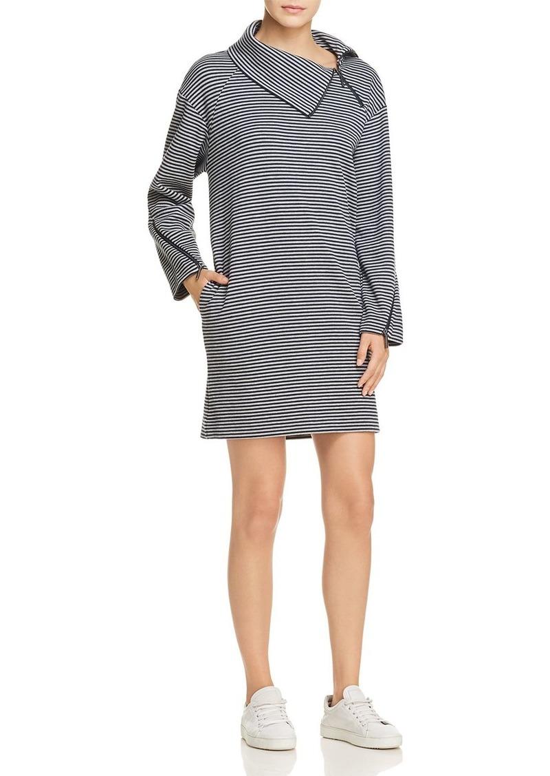 Kenneth Cole Funnel Neck Striped Dress