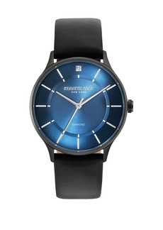 Kenneth Cole Genuine Diamond Stainless Steel & Leather Watch