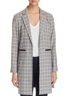 Kenneth Cole Glen Plaid Long Open-Front Blazer