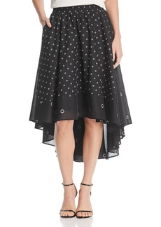 Kenneth Cole Grommet Print High/Low Skirt