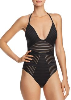 Kenneth Cole Illusionist Push Up One Piece Swimsuit
