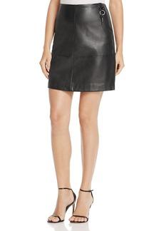Kenneth Cole Key Fob Seamed Leather Mini Skirt