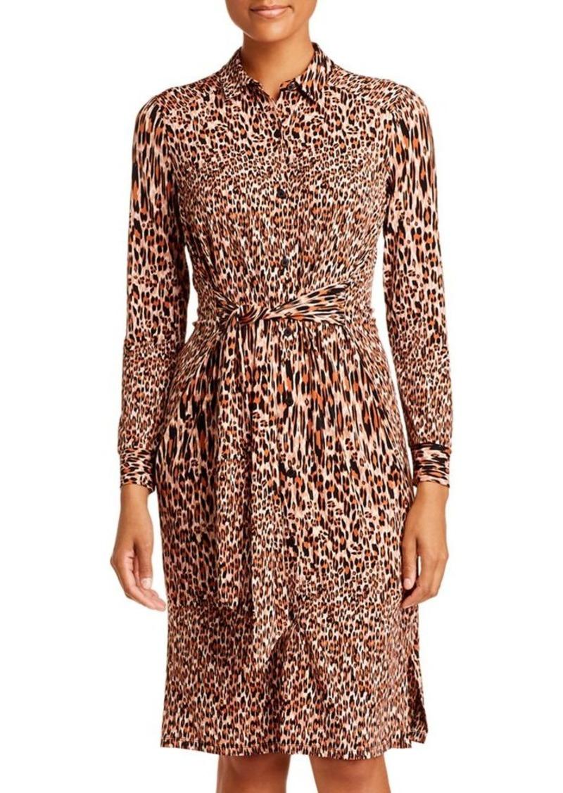 Kenneth Cole Leopard-Print Shirt Dress