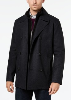 Kenneth Cole Men's Big & Tall Double-Breasted Wool-Blend Peacoat