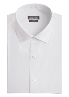 Kenneth Cole Men's Chambray Slim Fit Solid Spread Collar Dress Shirt