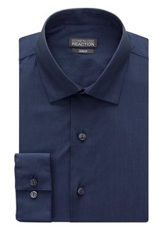 """Kenneth Cole Men's Chambray Slim Fit Solid Spread Collar Dress Shirt Blue 17.5"""" Neck 34""""-35"""" Sleeve"""