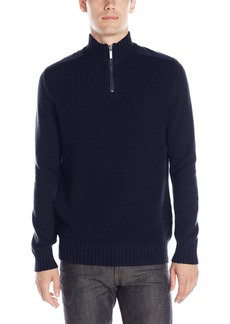Kenneth Cole Men's Half Zip With Pleather Sweater