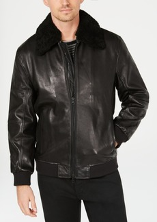 Kenneth Cole Mens Leather Jacket with Shearling Collar