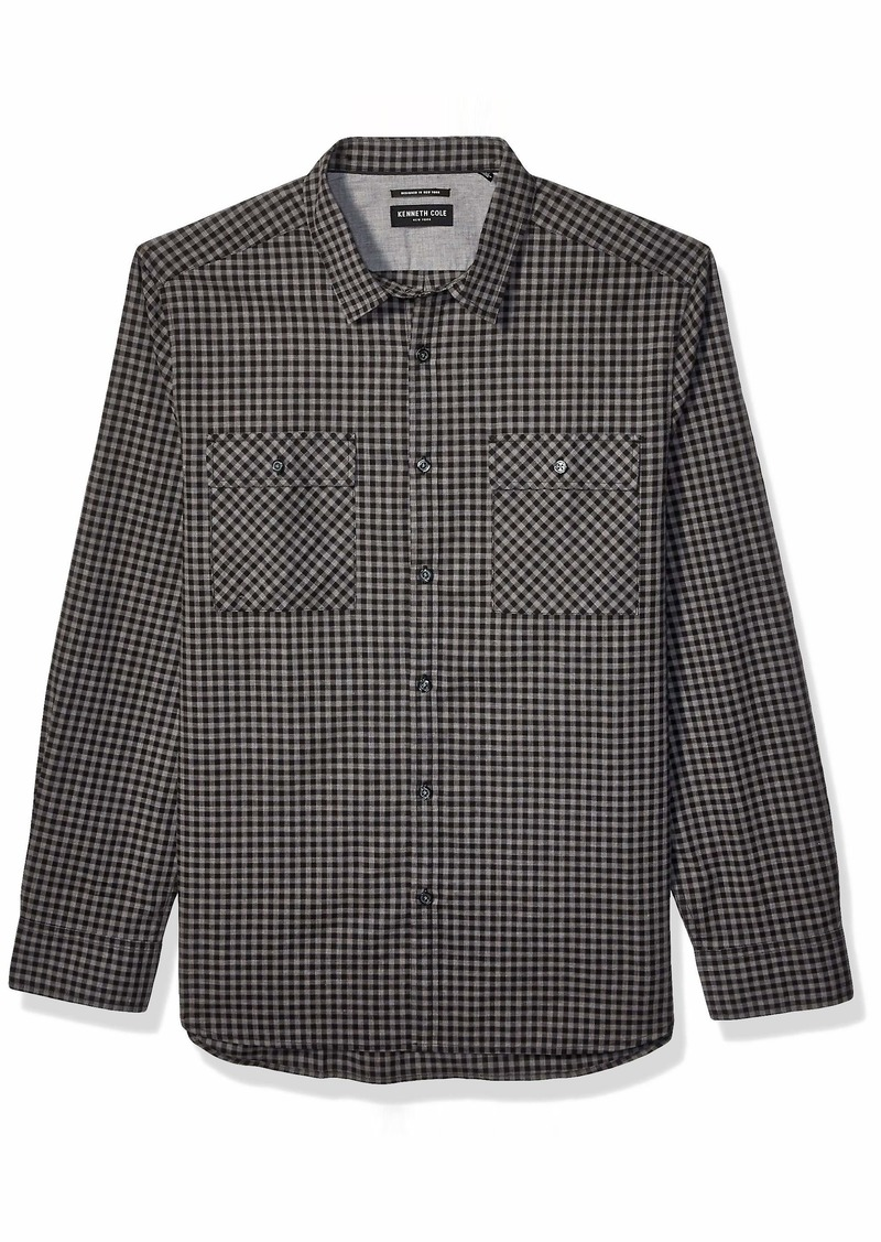 Kenneth Cole Men's Long Sleeve Button Up Gingham Shirt
