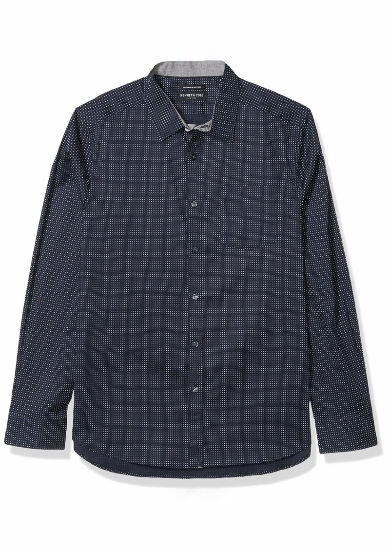 Kenneth Cole Men's Long Sleeve Button Up Mini Dot Print Shirt