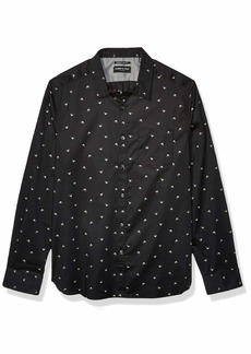 Kenneth Cole Men's Long Sleeve Button Up Shallow Print Shirt