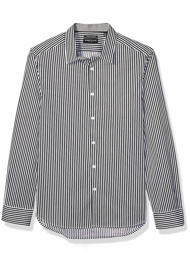 Kenneth Cole Men's Long Sleeve Button Up Textured Poplin Shirt